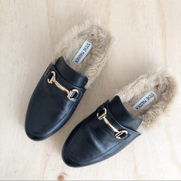 fc9002b809d Steve Madden | Khloe black leather fur mules